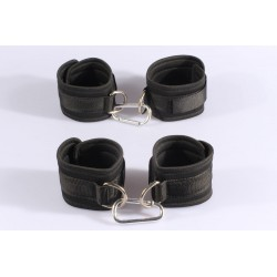 Black 2 in 1 kit sponge and braid handcuffs