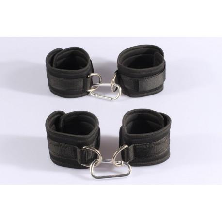 Black 2 in 1 kit sponge and braid handcuffs